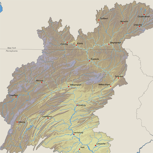 Elevations of the Susquehanna River Basin