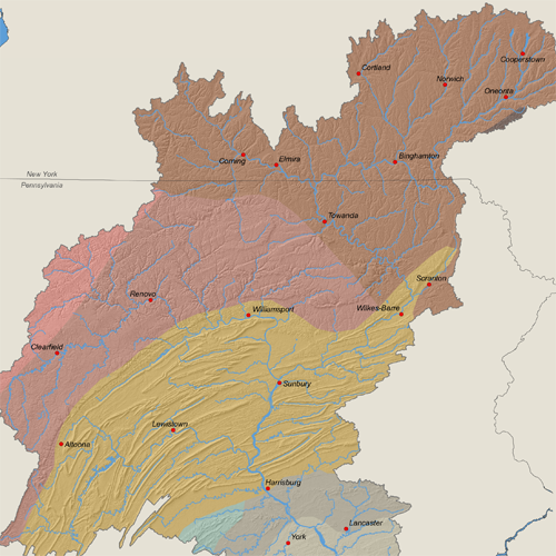 Physiographic Sections in the Susquehanna River Basin